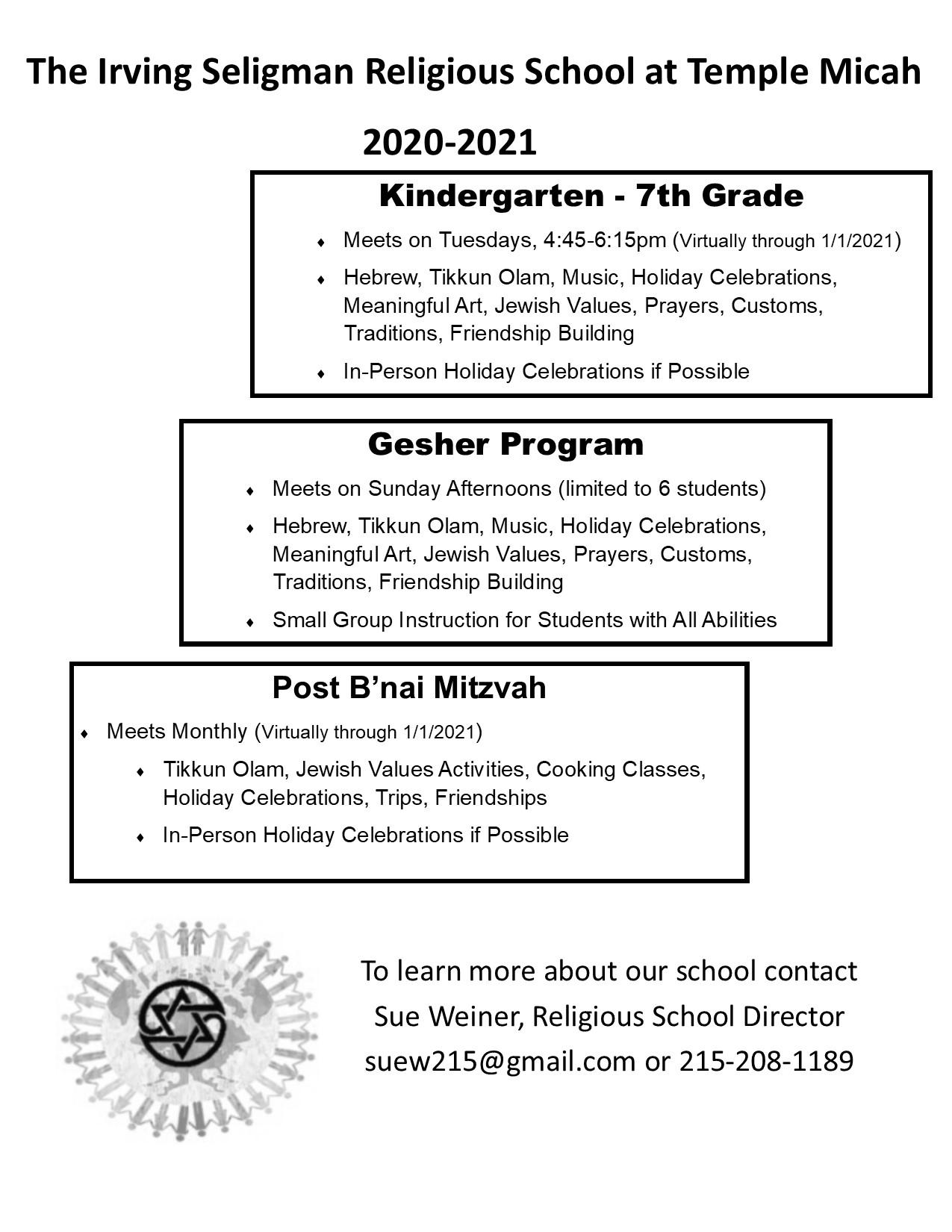 Temple Micah Religious School 2020